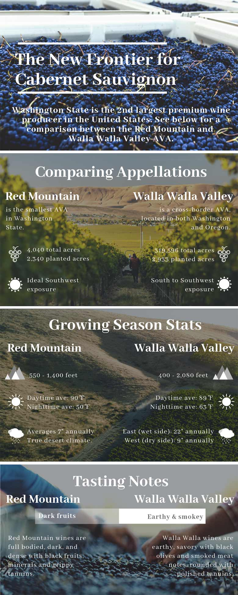 Infographic comparing red mountain and walla walla valley stats