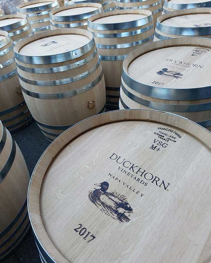 New chardonnay wine barrels