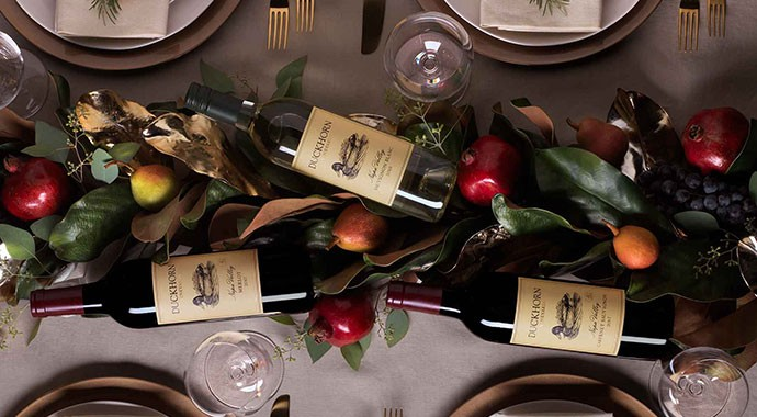 Duckhorn Vineyard wines on a holiday table