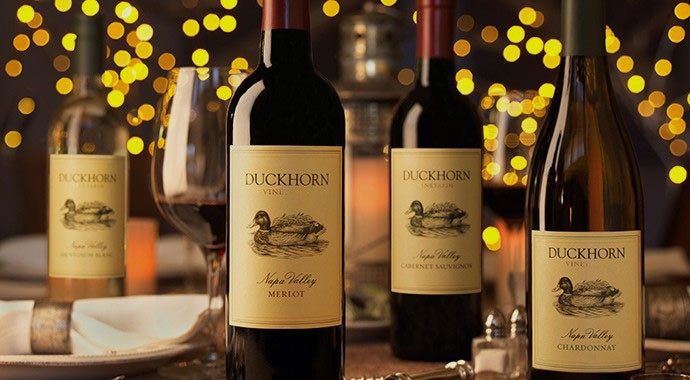 Bottles of Duckhorn holiday themed as corporate gifts