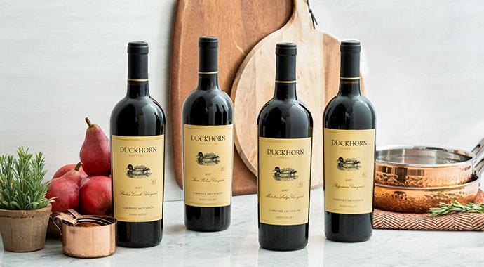 Duckhorn Vineyard wines on a kitchen counter