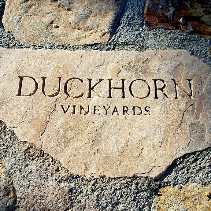 Duckhorn Vineyards rock stamped with logo on the property