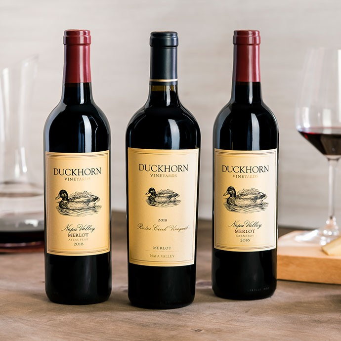 Duckhorn Vineyards Merlots with decanter and glass