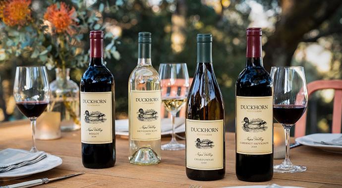 Duckhorn Vineyard wines on an outdoor table