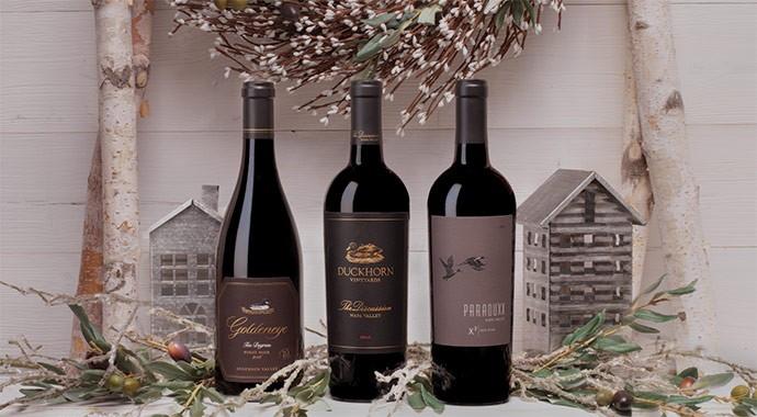 Duckhorn Portfolio wines on white holiday mantel