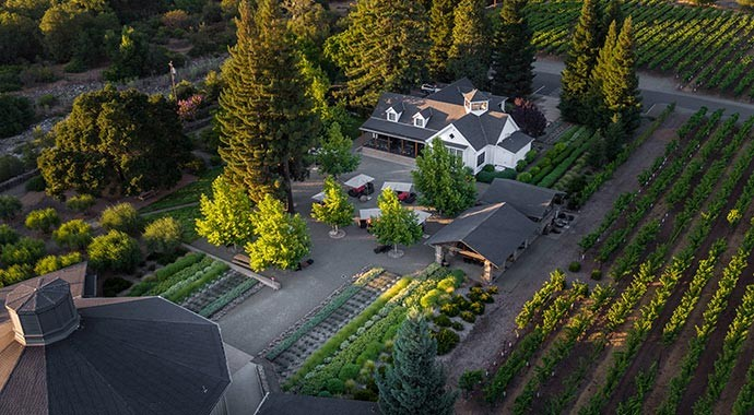 Pararduxx aerial courtyard and vineyard view in Napa Valley